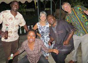 Akimu, Cecila, Debbie, Rodrick, MB getting into the swing.