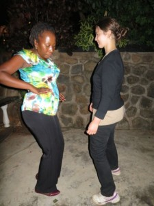 Tiaone doing some dance capacity building  with Helen