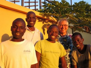 Saying farewell to the guards of Parmodzi flats, Namiwawa. Joseph, Robert, Austin, MB, Francis.